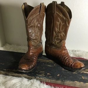 Tony Lama Natural Full Quill Ostrich Boots Mens